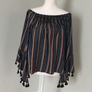 ROMEO AND JULIET COUTURE striped off the shoulder